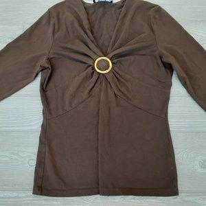 Jones New York brown 3/4 sleeve blouse
